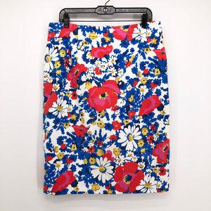 BODEN Richmond Floral Pencil Skirt Poppy Flower